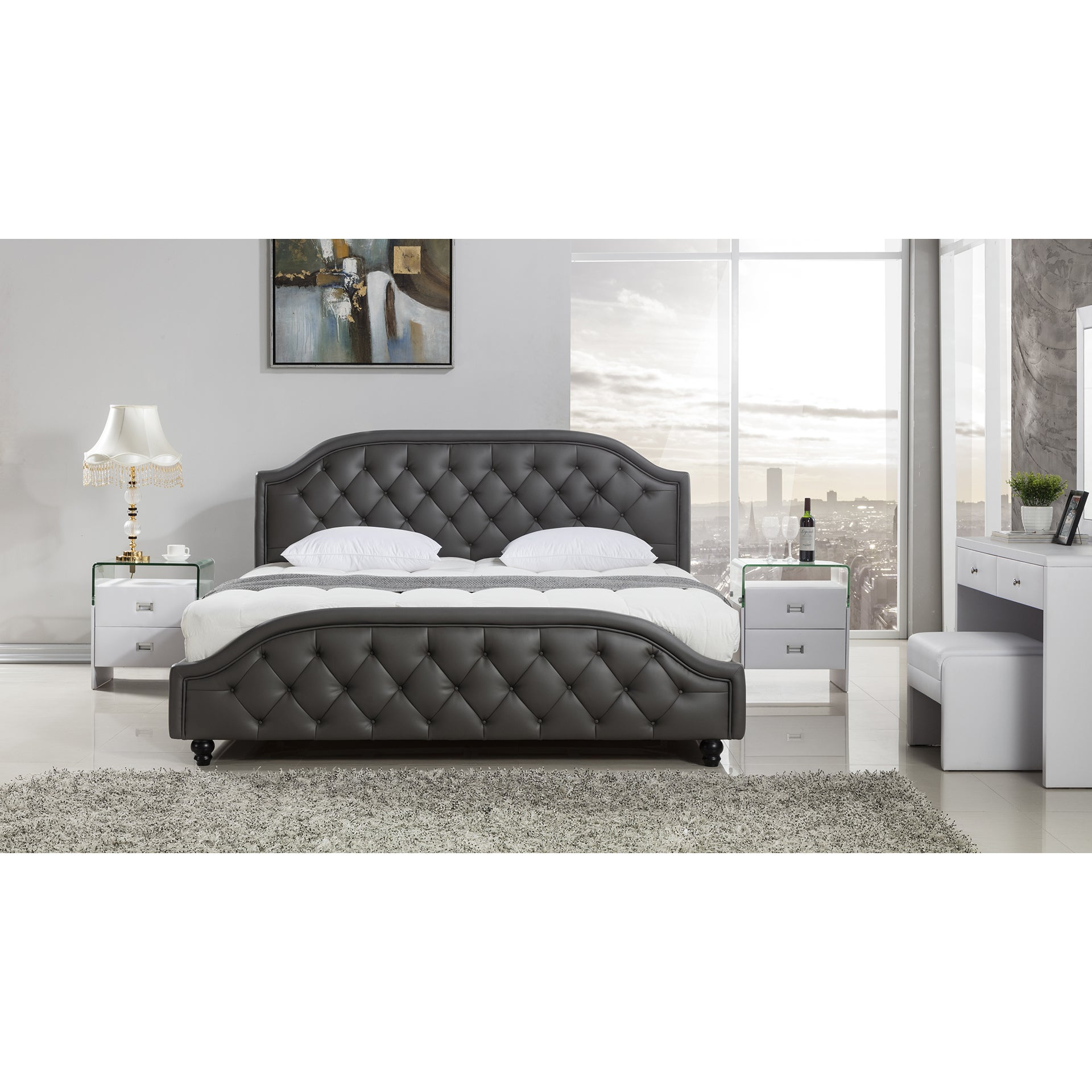 American Eagle Dark Grey Leather Air Fabric Bed (Californ...