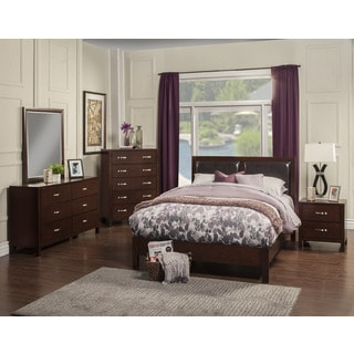 Alpine Costa Mesa Faux Leather and Cherry Platform Bed