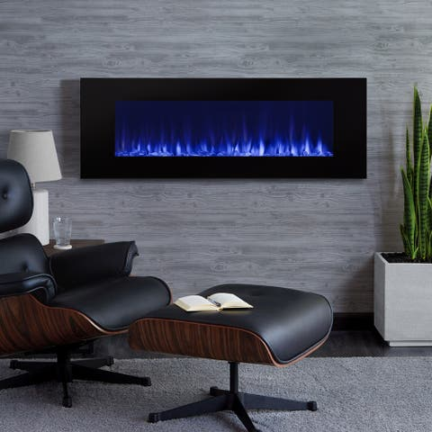 "DiNatale 50"" Electric Fireplace in White - 50L x 5.25W x 17.75H"