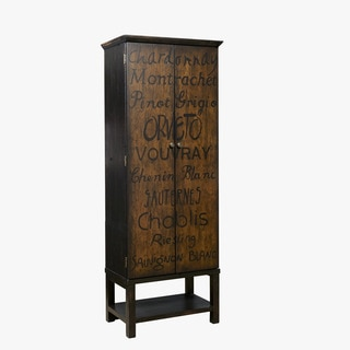 Hand Painted Distressed Black/Brown Wine Cabinet