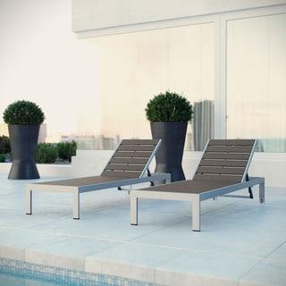 Shore Aluminum Outdoor Grey 2-piece Patio Chaise Lounger Set