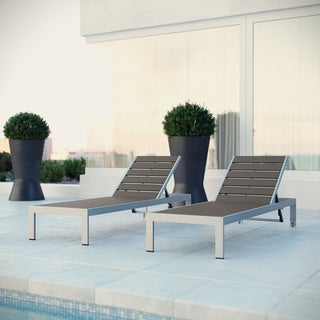 Shore Aluminum Outdoor Grey 2-piece Patio Chaise Lounger Set