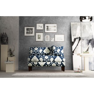 Briley Pewter Navy Ikat Cotton Armless Loveseat