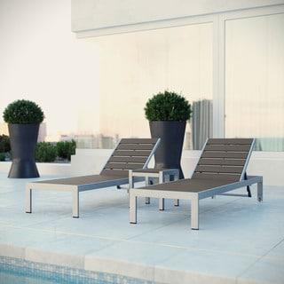 Shore Alumunium Outdoor 3-piece Chaise Lounger Set