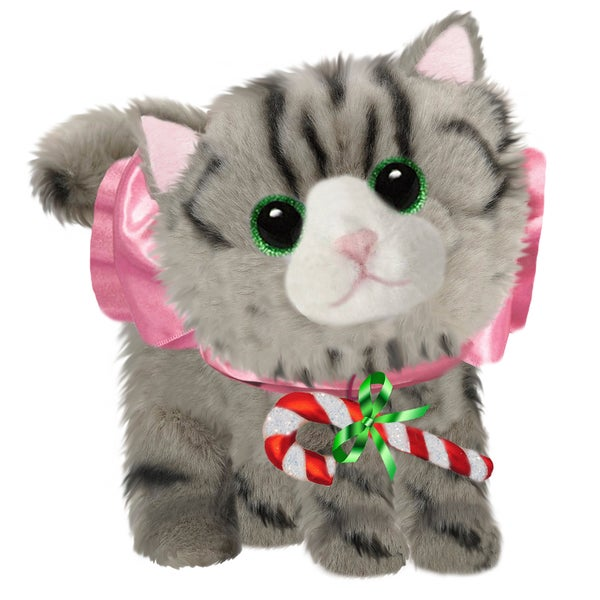 "First & Main Cat 7"" Grey Christmas Plush Fluffies"