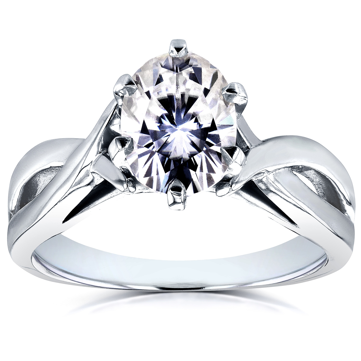 5885f66f22c6a Annello by Kobelli 14k White Gold 1 1/2ct Oval Forever One Moissanite  Solitaire Crossover Engagement Ring (DEF/VS)