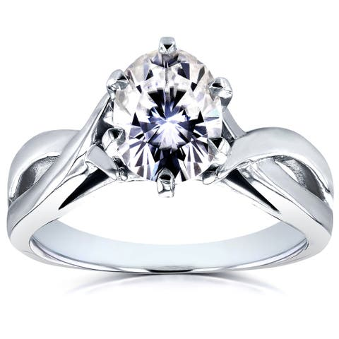 Annello by Kobelli 14k White Gold 1 1/2ct Oval Forever One Moissanite Solitaire Crossover Engagement Ring (DEF/VS)