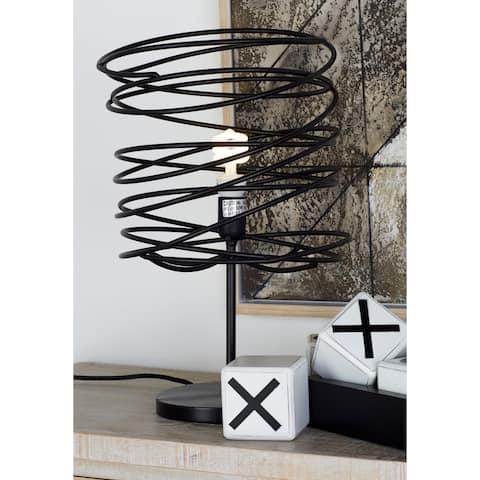 Benzara Black Metal 21-inch High Table Lamp