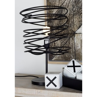 Benzara Black Metal 21-inch High Table Lamp