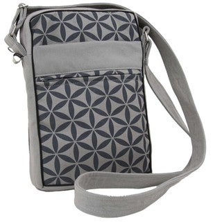 Handcrafted Flower of Life Festival Bag in Grey/Grey - Global Groove (Thailand)