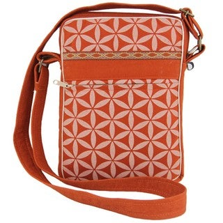 Handcrafted Flower of Life Festival Bag in Terracotta/Cream - Global Groove (Thailand)