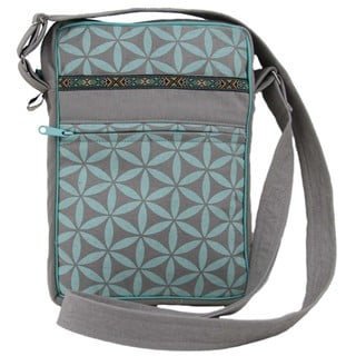 Handcrafted Flower of Life Festival Bag in Grey/Aqua - Global Groove (Thailand)