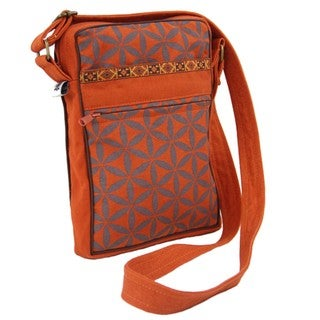 Handcrafted Flower of Life Festival Bag in Terracotta/Grey - Global Groove (Thailand)