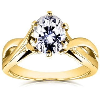 Annello by Kobelli 14k Yellow Gold 1 1/2ct Oval Forever One Moissanite Solitaire Crossover Engagement Ring