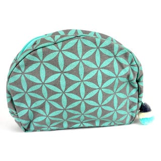Handcrafted Flower of Life Cosmetic Bag in Grey/Aqua - Global Groove (Thailand)