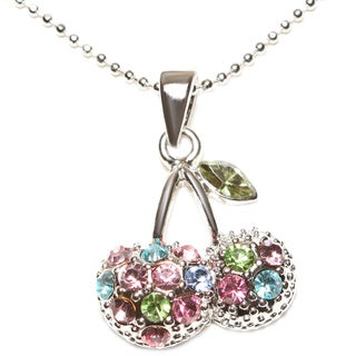Silvertone Multi-colored Crystal Cherry Necklace (Thailand)