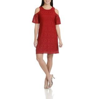 Rabbit Rabbit Rabbit Designs Women's Lace Cold Shoulder Dress