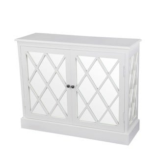 Privilege White Wood 2-door Mirrored Stand