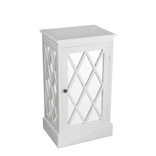 Privilege Pure White Wood 1-door Mirrored Accent Table