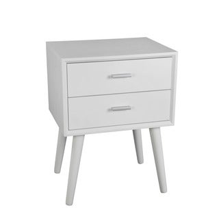 Privilege Pure White Wood Mid-century 2-drawer Accent Stand