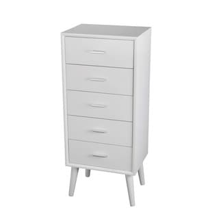 Privilege Mid-century Pure White Wood 5-drawer Accent Stand