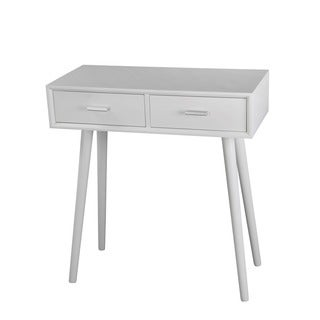 Privilege Pure White Wood Mid-century 2-drawer Console Table