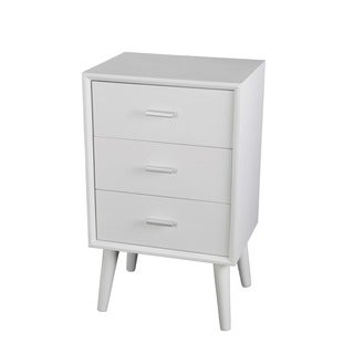 Privilege White Wood Mid-century 3-drawer Accent Table