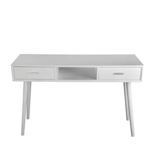 Privilege Mid-Century Pure White Finish Wood 2-door Console Table