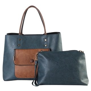 Diophy Faux Leather Front Pocket Two-tone Two-piece Shoulder Bag Set