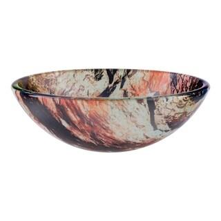 Novatto Cullare Glass Vessel Bathroom Sink Set, Chrome