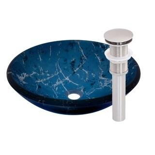 Novatto Marmo Glass Vessel Bathroom Sink Set, Brushed Nickel