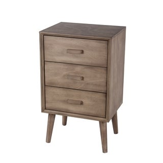 Privilege Desert Brown Wood Mid-century 3-drawer Accent Table