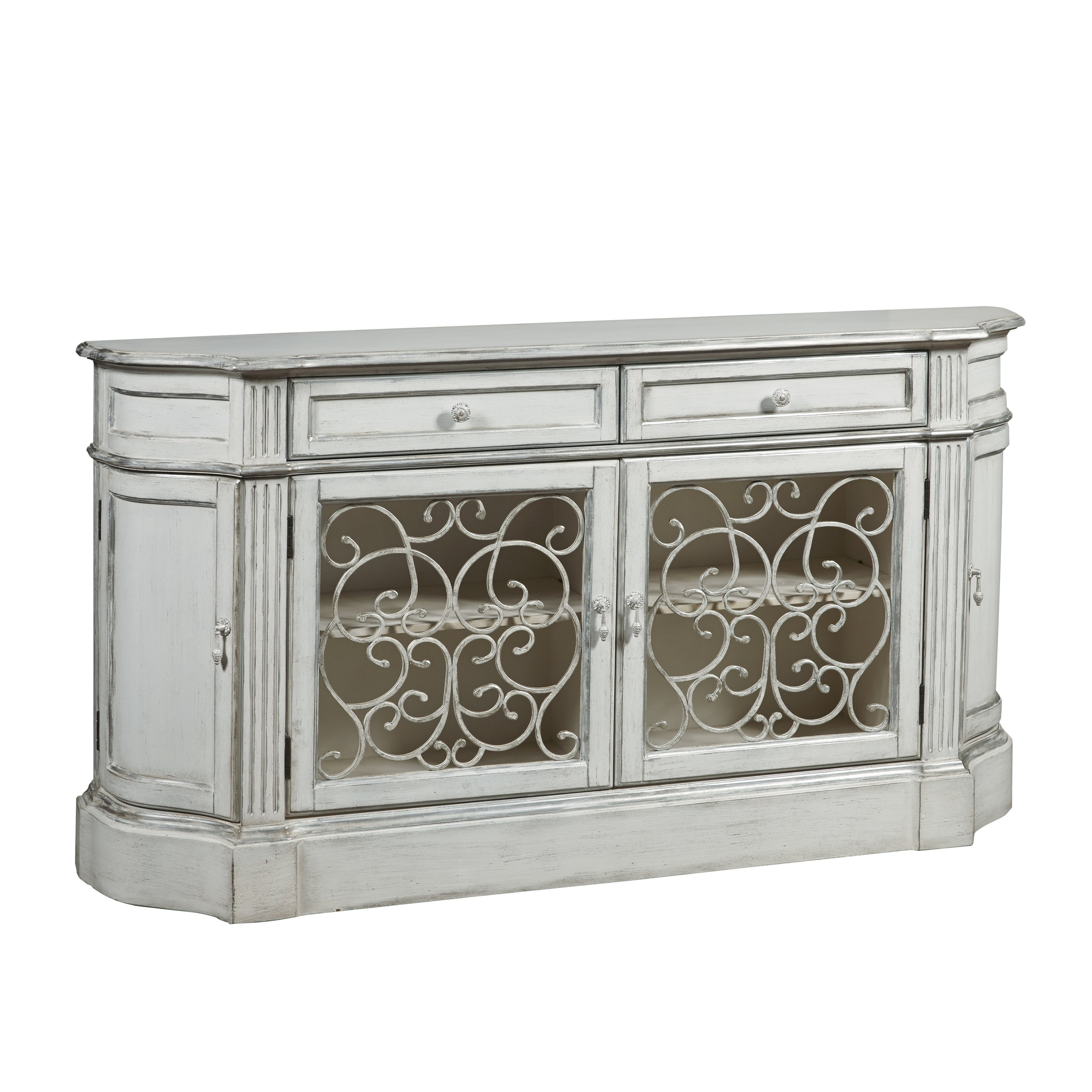 Hand Painted Distressed Aged Ivory Finish Credenza (Crede...