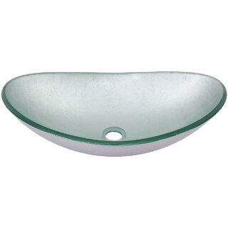 Novatto Argento Oval Glass Vessel Bathroom Sink Set, Brushed Nickel
