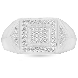 Trillion Designs S925 Sterling Silver 1/6 ct Natural Diamond Mens Band (H-I, I2)