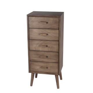 Privilege Desert Brown Wood Mid-century 5-drawer Accent Stand