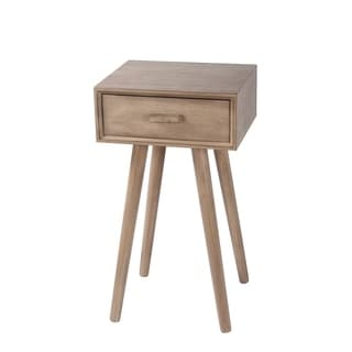 Privilege Mid-century Desert Brown Wood 1-drawer Accent Stand