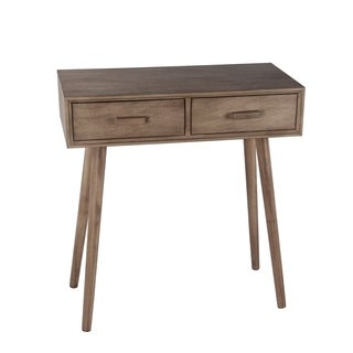 Privilege Mid-Century Desert Brown Wood 2-drawer Console Table