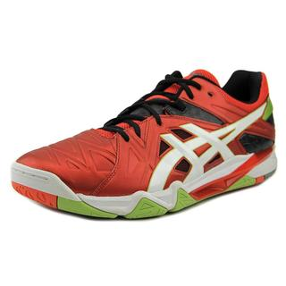 Asics Men's Gel-Sensei 6 Red Faux Leather Athletic Shoes