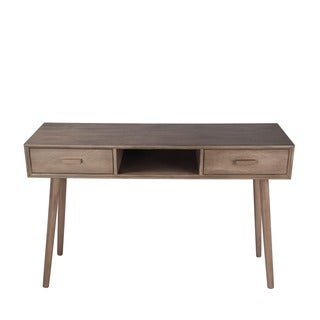 Privilege Desert Brown 2-Drawer Mid-Century Console Table