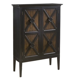 Hand Painted Distressed Two-tone Brown Wine Cabinet