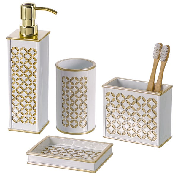 Diamond Lattice 4-piece Bathroom Accessory Set