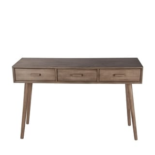 Privilege Brown Wood Mid-century 3-drawer Console Table