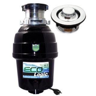 3/4 HP Eco-Logic 9 Deluxe Designer Series Food Waste Disposer (3-Bolt) with Polished Chrome Sink Flange