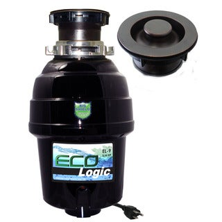 3/4 HP Eco-Logic 9 Deluxe Designer Series Food Waste Disposer (3-Bolt) with Oil Rubbed Bronze Sink Flange