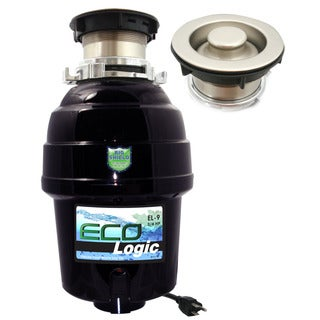 3/4 HP Eco-Logic 9 Deluxe Designer Series Food Waste Disposer (3-Bolt) with Brushed Nickel Sink Flange