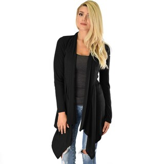 Draped Ribbed Cardigan