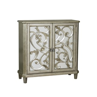 Hand Painted Distressed Silver Wine Cabinet Chest