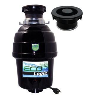 3/4 HP Eco-Logic 9 Deluxe Designer Series Food Waste Disposer (3-Bolt) with Black Sink Flange