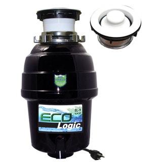3/4 HP Eco-Logic 9 Deluxe Designer Series Food Waste Disposer (3-Bolt) with White Sink Flange